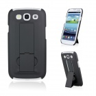 Protective Plastic Back Cover Case with Stand for Samsung i9300 S III - Black