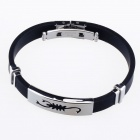 HJ05 Scorpion Pattern Decompression Anion Silicone Stainless Steel Non-Allergy Bracelet