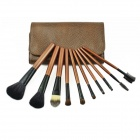 Professional Cosmetic Makeup Brushes Set w/ PU Leather Case - Brown (10 PCS)