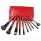 Professional Cosmetic Makeup Brushes Set w/ PU Leather Case - Red (10 PCS)