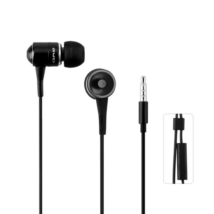 Q3I Stylish 3.5mm Stereo In-Ear Earphone w/ Microphone - Black