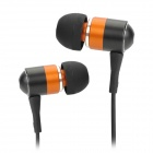 Q3I Stilvolle 3.5mm Stereo-In-Ear-Ohrhörer w / Mikrofon - Schwarz + Orange