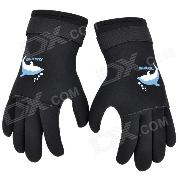 Sports Anti-Slip Neoprene Waterproof Diving Gloves - Black (Size L / 2 PCS)
