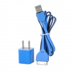 USB Flat Cable + US Plug Adapter Set for iPhone 3G / 3GS / 4 / 4S - Black + Blue