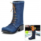 Creative Jeans Pattern Boots Shaped Pen Holder - Blue