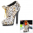 Creative Leopard Pattern High-Heeled Shoe Shaped Pen Holder - White + Golden