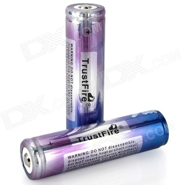 TrustFire Enhanced 18650 2000mAh 3.7V Rechargeable Protected Battery - Blue + Purple (2 PCS) liitokala 2pcs li ion 18650 3 7v 2600mah batteries rechargeable battery with portable battery box and 2 slots usb smart charger