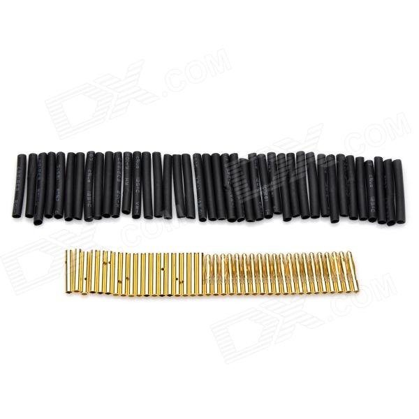 2.0mm Gold Plated Banana/Bullet Connectors with Heat Shrink Tubing (20-Pair)