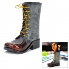 Creative Leather Pattern Boots Shaped Pen Holder - Grey + Brown