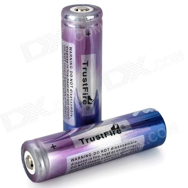 TrustFire 18650 2000mAh 3.7V Rechargeable Li-ion Battery - Blue + Purple (2 PCS) liitokala 2pcs li ion 18650 3 7v 2600mah batteries rechargeable battery with portable battery box and 2 slots usb smart charger