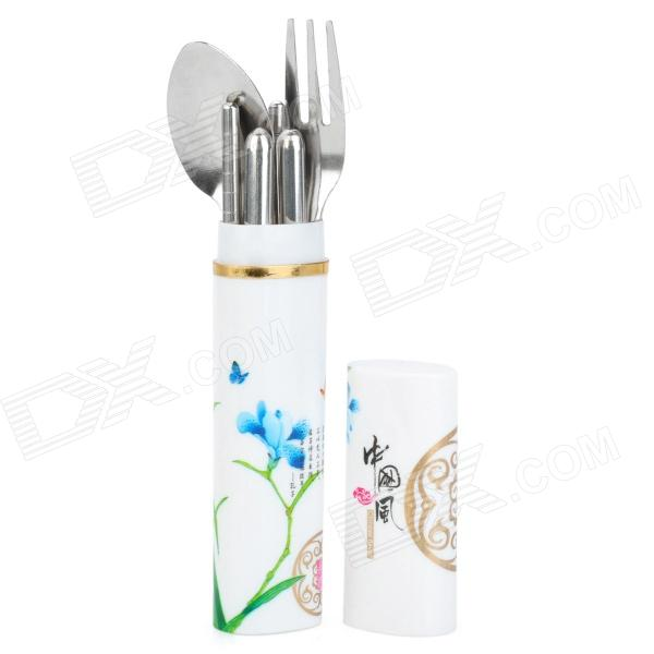 Portable 3-in-1 Fork + Spoon + Chopsticks Set w/ Chinoiserie Case - Silver stainless steel spoon fork chopsticks set silver tone w pouch red