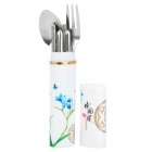 Portable 3-in-1 Fork + Spoon + Chopsticks Set w/ Chinoiserie Case - Silver