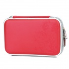 Project Design Flower Pattern Protective Artificial Leather Pouch w/ Strap for DSi LL/DSi XL - Red