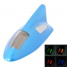 Solar Powered Shark Fin Style Safety Alarm LED / Anti-Rear-End Caution Light - Blue