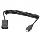 USB Female to Micro USB Male Retractable Data Cable - Black