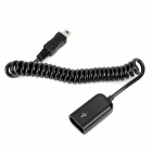 USB Female to Mini USB Male Retractable Data Cable - Black