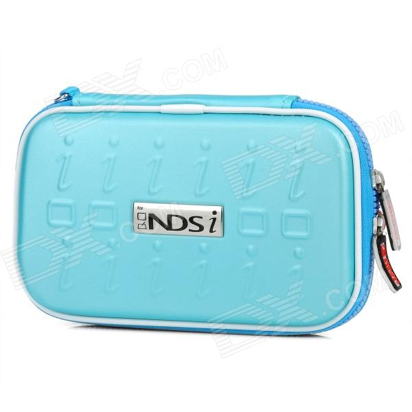 Project Design Stripe Pattern Protective Artificial Leather Pouch for Nintendo DSi - Light Blue