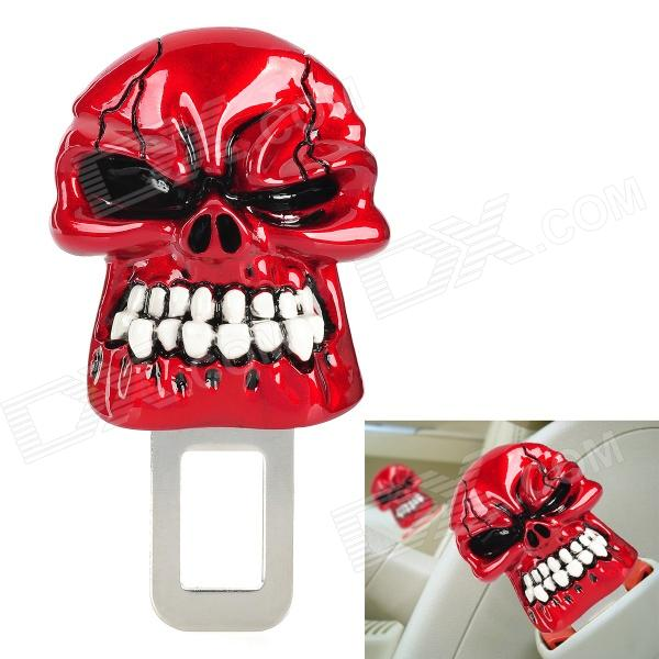 Фото Cool Safety Skull Style Seat Belt Buckle Latches - White + Red new safurance 200w 12v loud speaker car horn siren warning alarm stainless steel home security safety