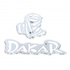 3D Cool DAKAR Style Metal Car Decoration Sticker - Blue + Silver