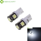 SENCART T10 2.5W 210~230lm 7200K 5-5060 SMD LED White Light Car Lamps - White (2 PCS)