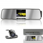 3.5'' TFT LCD Bluetooth Rearview Mirror CMOS 420 TV Lines Car DVR w/ Car Charger
