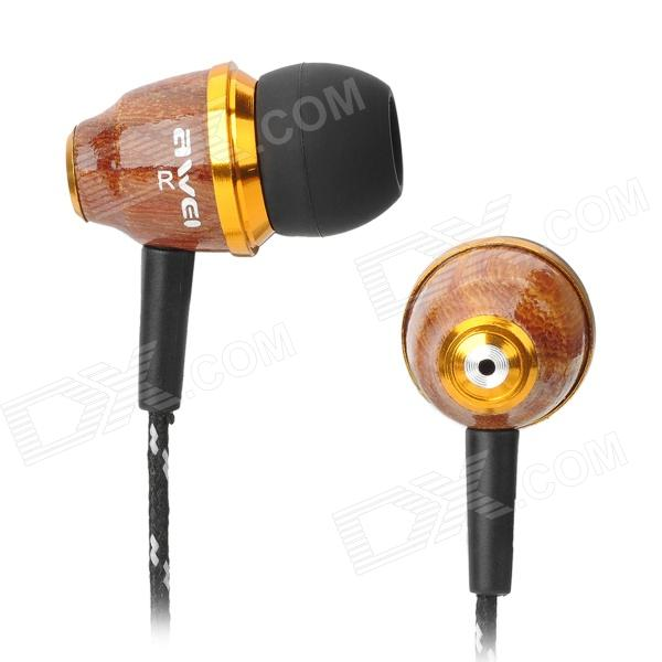 Awei Stylish In-Ear Earphone for Iphone / Cell Phone / MP3 / MP4 - Wood (3.5mm Jack) kz ed8m earphone 3 5mm jack hifi earphones in ear headphones with microphone hands free auricolare for phone auriculares sport