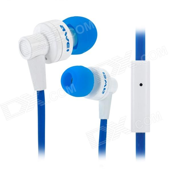 AWEI ES700I Stylish In-Ear Earphone w/ Microphone - Blue + White (3.5mm-Plug / 130cm-Cable) colorful carrying storage bag case for earphone cable