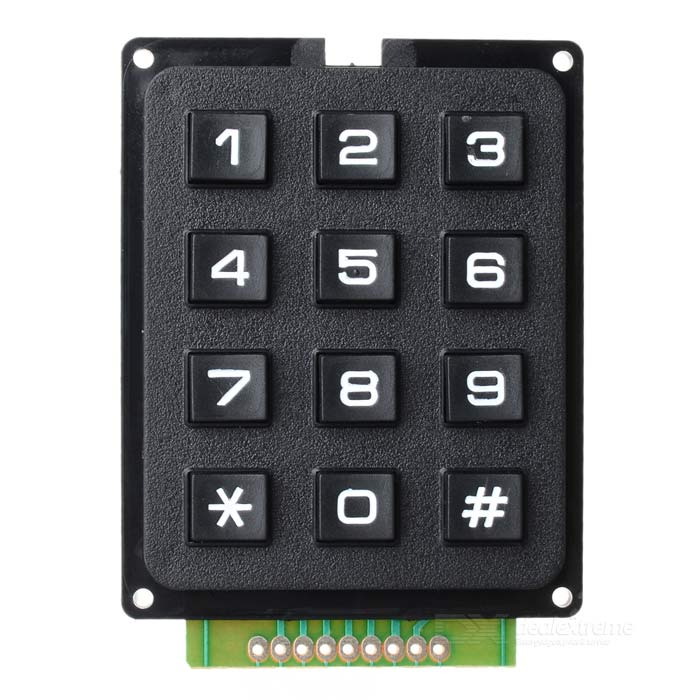 DIY 3*4 12-Key Numeric Keypad - BlackOther Accessories<br>Model3Quantity1ColorBlackMaterialABSFeatures12Form  ColorBlackMaterialABSFeatures12Packing List<br>