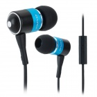 Q3I Stylish 3.5mm Stereo In-Ear Earphone w/ Microphone - Black + Blue