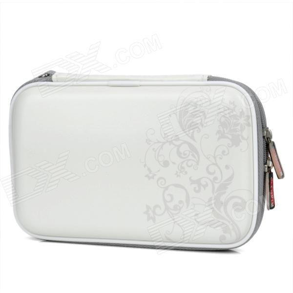 Project Design Flower Pattern Protective Artificial Leather Pouch for Nintendo DSi XL - White
