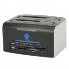 "CH-329U3S USB 3.0 2.5"" / 3.5"" SATA Dual HDD Docking Station w/ Multi-Card Reader - Black + Silver"