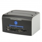 "USB 2.0 2.5"" / 3.5"" eSATA /SATA / IDE Dual HDD Docking Station w/ Multi-Card Reader - Black + Silver"