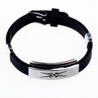 HJ09 Mayan Totem Pattern Decompression Anion Silicone Stainless Steel Non-Allergy Bracelet