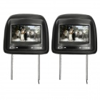 "7"" HD LCD Screen Car Headrest Monitor w/ Remote Controller / AV-IN - Black (2 PCS)"