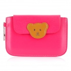 Cute Bear Wallet Style Protective PU Leather Case for Iphone / Samsung / HTC - Deep Pink