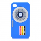 Camera Pattern Protective Silicone Back Case for Iphone 4S / 4 - Blue