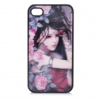 Pretty 3D Peony Goddess Style Protective PC Back Cover Case for Iphone 4 / Iphone 4S - Black + Red