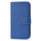 Flip-Open Wallet Style Protective Artificial Leather Case for Samsung Galaxy S III / i9300 - Blue