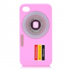 3D Camera Pattern Protective Silicone Back Cover Case for Iphone 4 / Iphone 4S - Pink