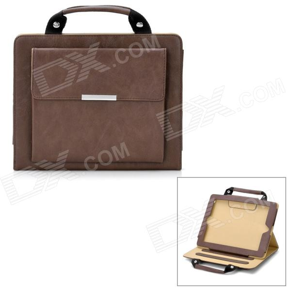 Hand Held Briefcase Style Protective PU Leather Case for Ipad 2 / The New Ipad - Brown for casio dt930 940 data hand held terminal base 986