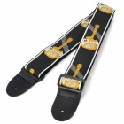 Durable Adjustable Nylon + Leather Guitar Strap - Black + White + Yellow (146cm)