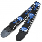 Durable Adjustable Nylon + Leather Guitar Strap - Black + White + Blue (146cm)