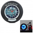 YL380 Tire Shaped Wall Clock w / Blue Backlight - Black + Silver (1 x AA + AC 220V EU-Stecker)