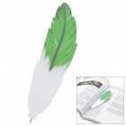 Feather Pen Style Black Ink Ballpoint Pen - Green + White