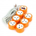 Yishenglong JY-8885 180 Degree Multifunction 6 Rotating Outlet - Orange + Grey (3-Flat-Pin Plug)
