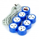 Yishenglong JY-8885 180 Degree Multifunction 6 Rotating Outlet - Blue + Grey (3-Flat-Pin Plug)