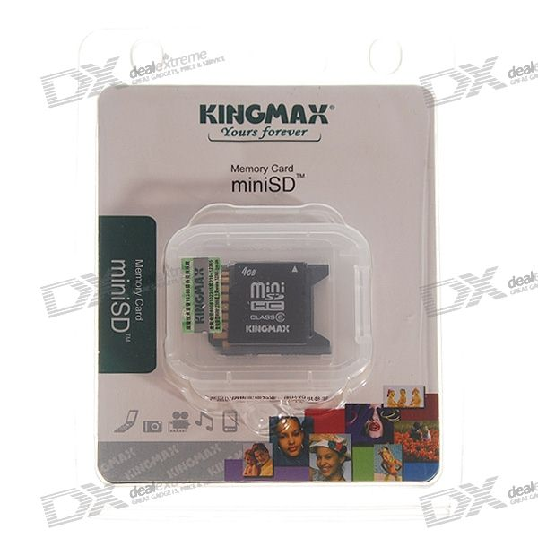 Kingmax 4GB SDHC Mini-SD Memory Card with SD Card Adapter (Class 6 High Speed)