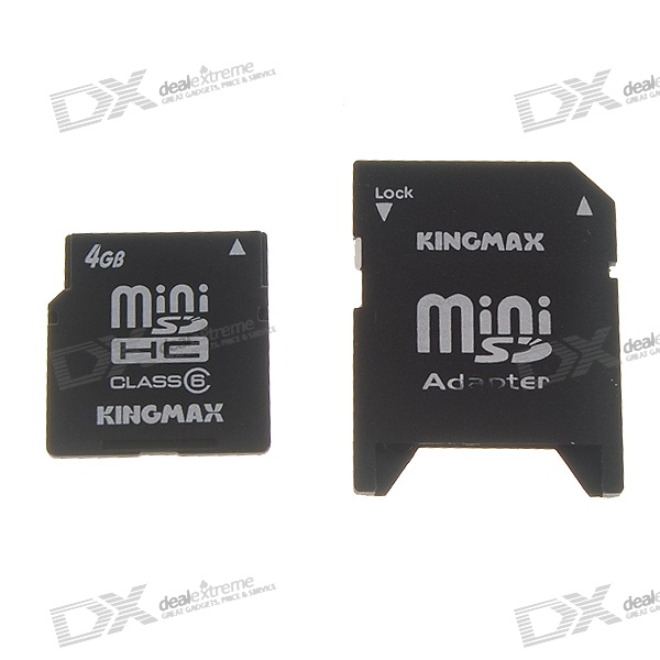 kingmax 4gb sdhc mini sd memory card with sd card adapter class 6 high speed free shipping. Black Bedroom Furniture Sets. Home Design Ideas