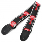 Durable Adjustable Nylon + Leather Guitar Strap - Red + Black + White (142cm)