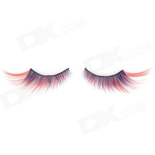 Decoration False Eyelashes for Beauty Makeup - Red + Blue + Black (Pair)
